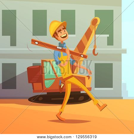 Builder and construction cartoon background with construction equipment and machines vector illustration