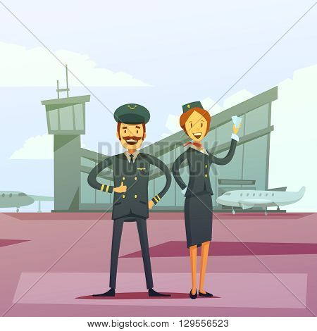 Pilot and stewardess cartoon background with airport building and airplane vector illustration
