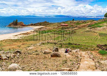 Landscape of Taquile Island in Lake Titicaca near City of Puno Peru