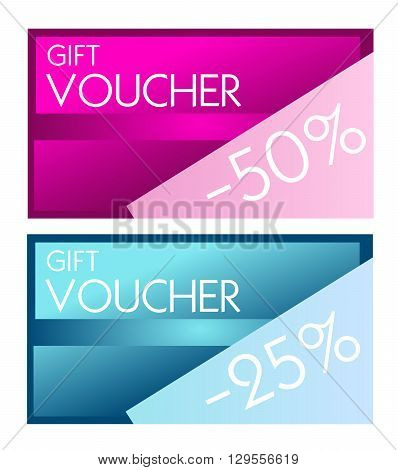 Illustration of two gift voucher card with sale 50% and 25%