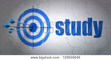 Success Education concept: arrows hitting the center of target, Blue Study on wall background, 3D rendering
