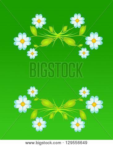 Green background with light blue flower decoration illustration