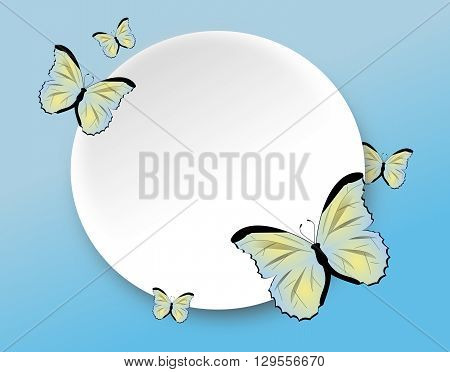Illustration of light blue background decorated with white circle and butterflies