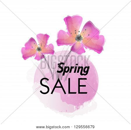 Spring sale background with pink watercolor flowers