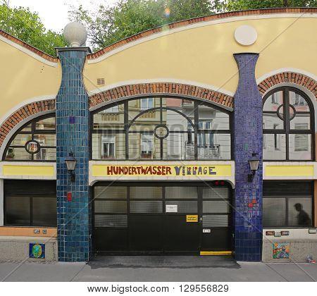 VIENNA AUSTRIA - JULY 12: Hundertwasser Village in Wien on JULY 12 2015. Famous Village by Architect Hundertwasser in Vienna Austria.