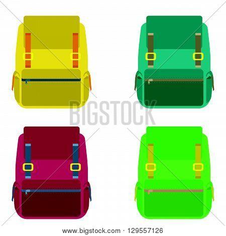 Set of four backpacks isolated on white background. flat style trendy modern vector illustration