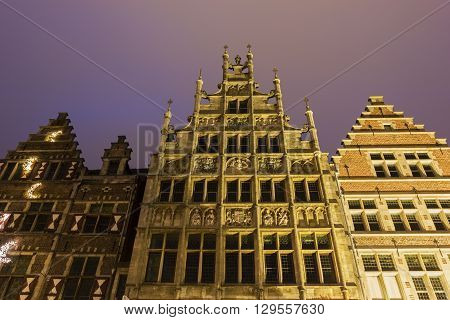 Traditional buildings along the Leie river in the city of Ghent in Belgium