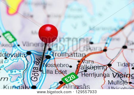 Lilla Edet pinned on a map of Sweden
