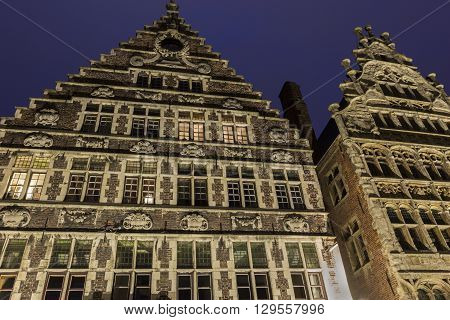 Traditional building along the Leie river in the city of Ghent in Belgium