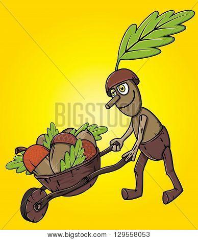 cartoon oak tree mascot pushing handcart with accorns autumn leaves season