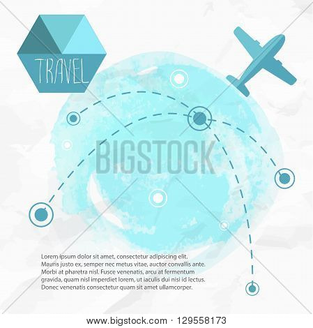 Travel by plane. Airplane on his destination routes. Watercolor blue background and flat style airplane. Air traffic vector illustration.