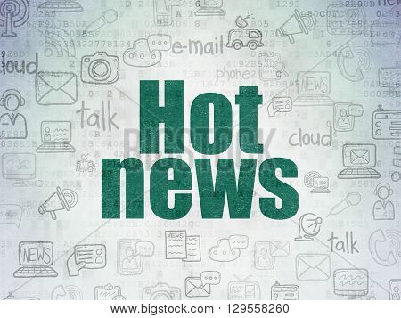 News concept: Painted green text Hot News on Digital Data Paper background with   Hand Drawn News Icons