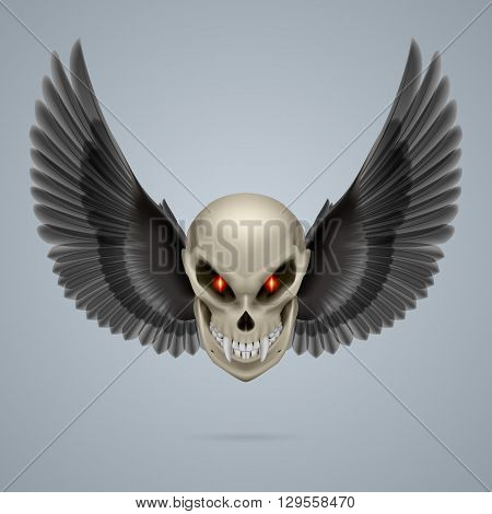 Evil looking mutant skull with long fangs and black wings