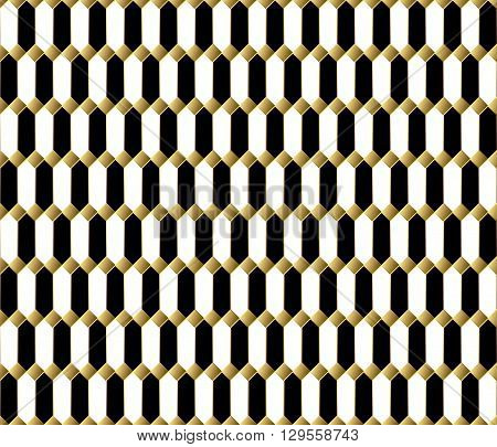 Vector seamless pattern. Stylish textile print with geometric eastern design. Ethnic fabric background. Modern fabric swatch. Seamless oriental background. Black white and gold luxury wallpaper.