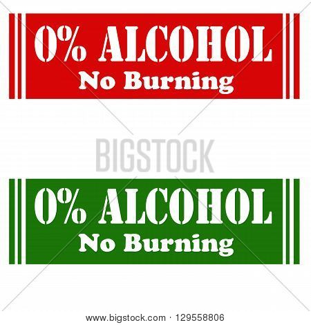 Set of stamps with text 0% Alcohol,vector illustration