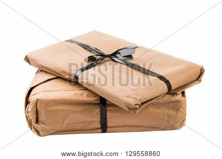 ship, shipped parcel isolated on white background