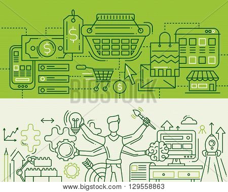 Illustration of vector modern line flat design add to cart, creative process compositions with shopping infographics elements, male with many hands. Headers, banners set for your website