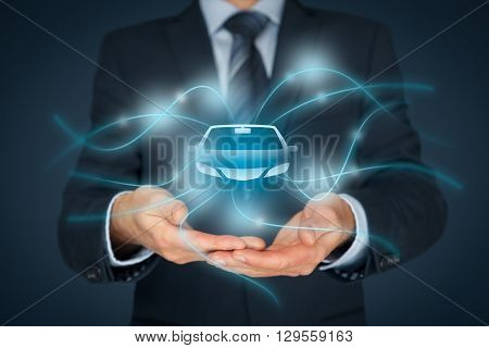 Car (automobile) insurance and car services concept. Businessman with offering gesture and icon of car.