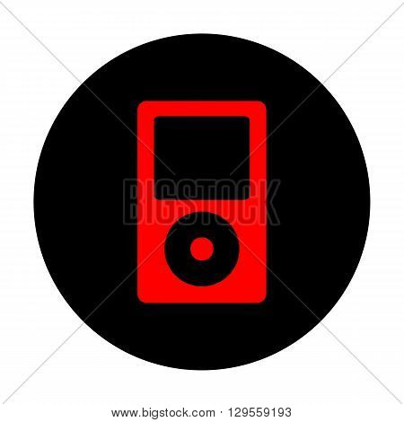 Portable music device. Red vector icon on black flat circle.