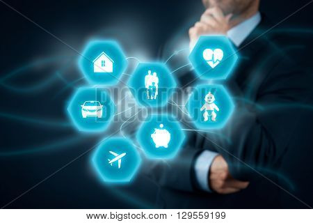 Insurance concept. Businessman (insurance agent client) think about insurance. Insurance icons: real estate insurance car insurance travel insurance family and life insurance children's insurance financial insurance and health insurance.