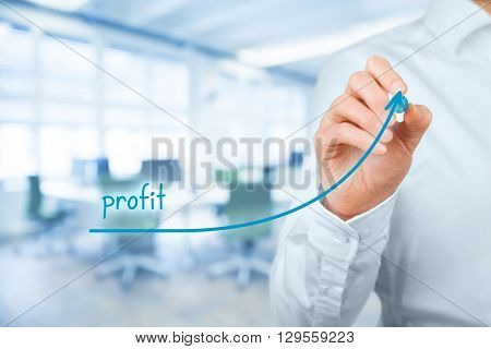 Increase profit concept. Businessman plan (predict) profit growth represented by graph office in background.
