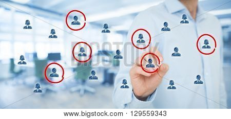 Marketing segmentation target audience customers care customer relationship management (CRM) human resources customer analysis and focus group concepts. Wide banner composition office in background.