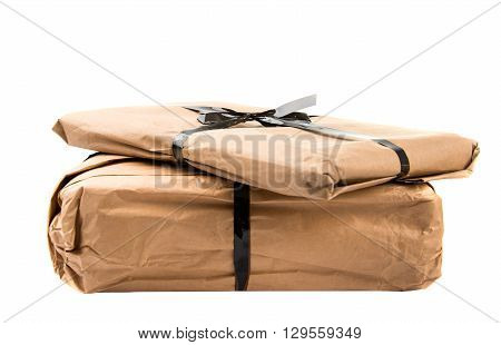pile, post parcel isolated on white background