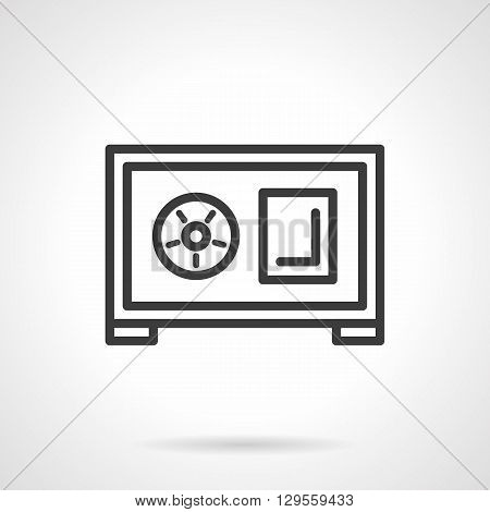 Steel safe with circular lock. Reliable protection of finance and wealth, safety of bank deposits. Insurance of savings and profit. Simple black line vector icon. Element for web design, mobile app.