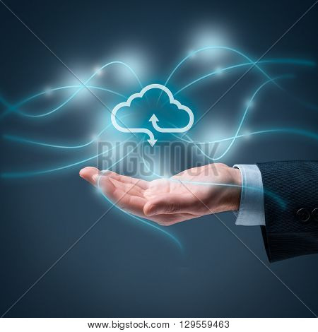 Cloud computing concept - connect to cloud. Hand with cloud computing icon square composition.