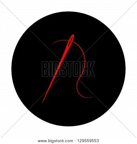 Needle with thread sewing needle, needle for sewing. Red vector icon on black flat circle.