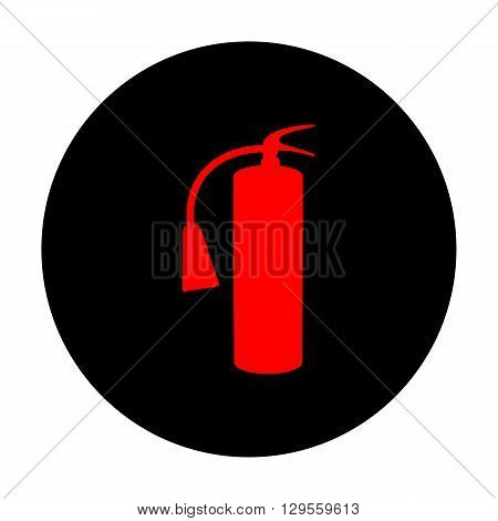 Fire extinguisher icon. Red vector icon on black flat circle.