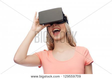 technology, virtual reality, entertainment and people concept - happy young woman with virtual reality headset or 3d glasses