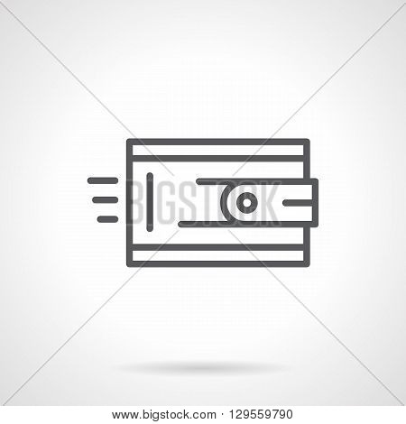 Wallet with clasp. Money turnover sign. Symbol of solvency. Shopping and leather accessories. Simple black line vector icon. Single element for web design, mobile app.