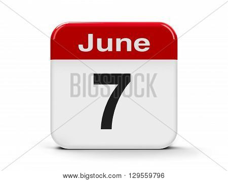 Calendar web button - The Seventh of June three-dimensional rendering 3D illustration