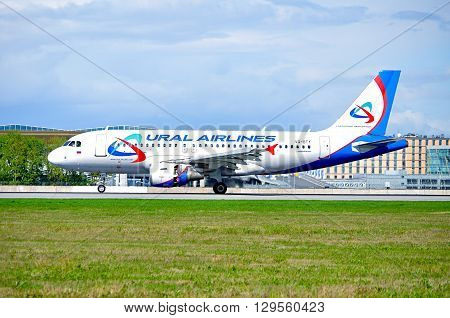 SAINT PETERSBURG RUSSIA - MAY 11 2016. Ural Airlines Airbus A319 aircraft -registration number VQ-BTY - is riding on the runway after landing in Pulkovo International airport