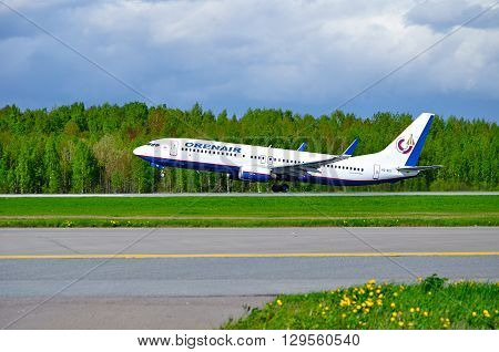 SAINT PETERSBURG RUSSIA - MAY 11 2016. Orenair Airlines Boeing 737-800 airplane-registration number VQ-BSS- is taking off from the runway in Pulkovo International airport