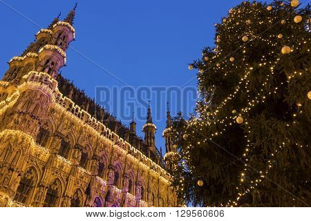 Magnificent City Hall of Leuven in Belgium during Christmas