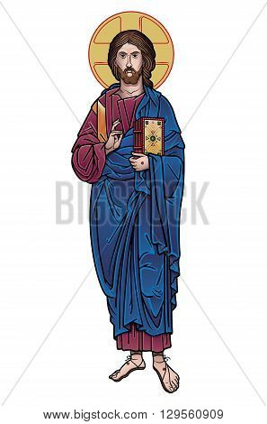 jesus christ holding a book colored vector illustration