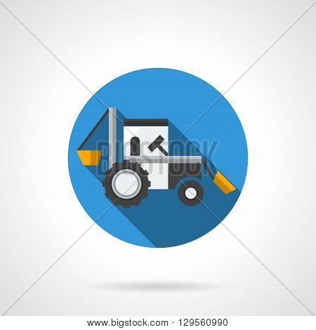 Farm excavator with long shadow. Agriculture industrial machinery. Heavy field works, loading of feeds and fertilizers. Round flat color vector icon. Web design element for site, mobile and business.