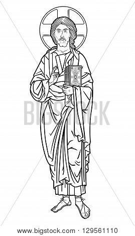 jesus christ holding a book outlined vector illustration