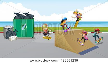 Kids playing skateboard on the ramp illustration