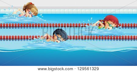 Swimmers racing in the pool illustration