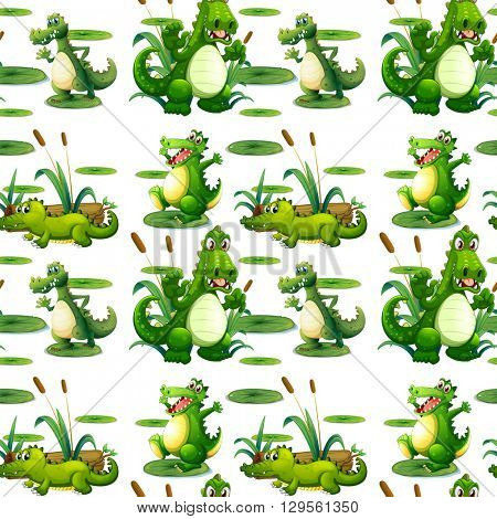 Seamless crocodile in the pond illustration