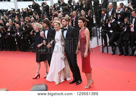 Diego Luna and Marthe Keller  attend the 'Money Monster' Premiere during the 69th annual Cannes Film Festival on May 12, 2016 in Cannes, France.