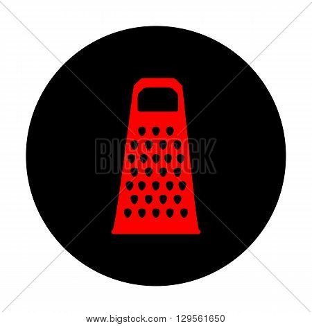 Cheese grater icon. Red vector icon on black flat circle.