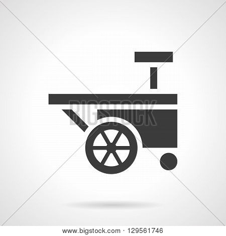 Silhouette of two-wheeled cart for sale food on city festivals and carnivals. Trade of ice-cream on beaches and parks. Symbolic black glyph style vector icon. Element for web design and mobile.