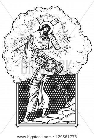 jesus christ carrying a cross vintage vector illustration