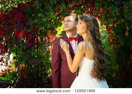 bride and groom in wedding attire against the backdrop of the garden at sunset, the bride crown princess Happy elegant bride and groom posing together outdoors on a wedding day