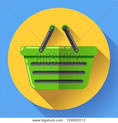 Vector shopping basket icon. Flat design style