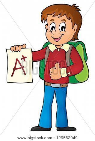 School boy with A plus grade theme 1 - eps10 vector illustration.